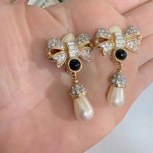 VintageVogue Bijoux Cabochon Rhinestone Earrings